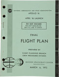 Transportation:Space Exploration, Apollo 16 NASA Final Flight Plan Book Dated March 6, 1972. ...