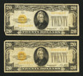 Small Size:Gold Certificates, Fr. 2402 $20 1928 Gold Certificates. Two Examples. Very Good or Better.. ... (Total: 2 notes)