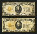 Small Size:Gold Certificates, Fr. 2400 $10 1928 Gold Certificates. Two Examples. Very Good.. ... (Total: 2 notes)