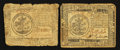 Colonial Notes:Continental Congress Issues, Two Circulated Continentals.. ... (Total: 2 notes)