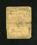 Colonial Notes:Continental Congress Issues, Continental Currency February 17, 1776 $1/2 Good. The center foldhas an approximate half inch split....