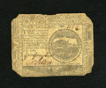 Colonial Notes:Continental Congress Issues, Continental Currency February 17, 1776 $4 Fine. A shallow notch isat top center, plus each corner shows rounding or clippin...