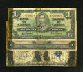 Miscellaneous:Other, Three North American Short Snorters including United States $1 1935A Silver; Canada $1 1937; and Mexico 1 Peso (1936). Sever... (Total: 3 notes)