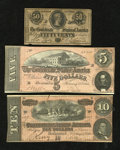 Confederate Notes:1864 Issues, Confederate Patrol.. T68 $10 1864 VF+. T69 $5 1864 VF+. T72 50¢ 1864 Fine, once mounted, edge tear and notch.. ... (Total: 3 notes)