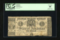 Obsoletes By State:Arkansas, (Little Rock), AR- Treasury Warrant $1 Feb. 7, 1862. This is the first one of the Arkansas state issues that we have seen th...