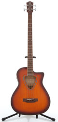 Musical Instruments:Bass Guitars, Vintage Hohner TWP6010B Orangeburst Electric Acoustic Bass Guitar#91110729....