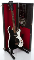 Musical Instruments:Electric Guitars, 1960's Silvertone 1448 Black Electric Guitar With Amplifier Case...