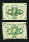 Fractional Currency:First Issue, Fr. 1242 10¢ First Issue Gem New and About New.. ... (Total: 2 notes)
