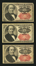 Fractional Currency:Fifth Issue, Fr. 1309 25¢ Fifth Issue Very Fine. Three Examples.. ... (Total: 3notes)