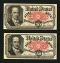 Fractional Currency:Fifth Issue, Fr. 1380 50¢ Fifth Issue About New. Two Examples.. ... (Total: 2notes)