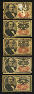 Fractional Currency:Fifth Issue, Fr. 1308 25¢ Fifth Issue Very Good. Five Notes Total.. ... (Total:5 notes)