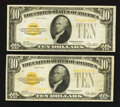 Small Size:Gold Certificates, Fr. 2400 $10 1928 Gold Certificates. Two Examples. Fine-Very Fine or Better.. ... (Total: 2 notes)