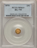 California Fractional Gold, 1876 25C Indian Octagonal 25 Cents, BG-799, At least High R.6,MS64+ PCGS. PCGS Population (24/13). NGC Census: (3/1). (#...