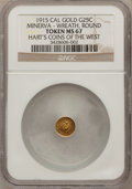 California Gold Charms, 1915 1/4 California Gold, Minerva / Wreath and Bear Token MS67 NGC. Hart's Gold Coins of the West....