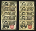 Fractional Currency:Fifth Issue, Fr. 1266 10¢ Fifth Issue Very Fine to Choice New. Nine ExamplesPlus One Fr. 1265.. ... (Total: 10 notes)