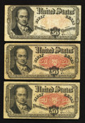 Fractional Currency:Fifth Issue, Fr. 1381 50¢ Fifth Issue Three Examples Fine.. ... (Total: 3 notes)