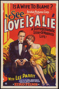 "Movie Posters:Drama, Love is a Lie (Brisken, 1927). One Sheet (27"" X 41""). Drama.. ..."