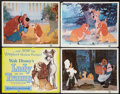 """Movie Posters:Animation, Lady and the Tramp (Buena Vista, 1955 and R-1962). Title Lobby Card and Scene Cards (7) (11"""" X 14""""). Animation.. ... (Total: 8 Items)"""