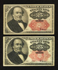Fractional Currency:Fifth Issue, Fr. 1308 25¢ Fifth Issue Fine-Very Fine.. Fr. 1309 25¢ Fifth IssueFine-Very Fine.. ... (Total: 2 notes)
