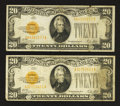 Small Size:Gold Certificates, Fr. 2402 $20 1928 Gold Certificates. Two Examples. Fine-Very Fine.. ... (Total: 2 notes)