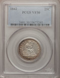 Seated Quarters: , 1842 25C Large Date VF30 PCGS. PCGS Population (4/31). NGC Census:(1/35). Mintage: 88,000. Numismedia Wsl. Price for probl...