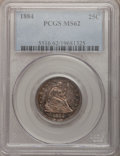 Seated Quarters: , 1884 25C MS62 PCGS. PCGS Population (5/75). NGC Census: (5/58).Mintage: 8,000. Numismedia Wsl. Price for problem free NGC/...