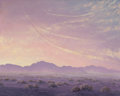 Mainstream Illustration, JOHN WILLIAM HILTON (American, 1904-1983). Con Trails in theSunset. Oil on masonite. 16 x 20 in.. Signed lower right. ...