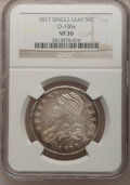 Bust Half Dollars: , 1817 50C VF30 NGC. O-106a. Single Leaf. NGC Census: (15/322). PCGSPopulation (23/418). Mintage: 1,215,567. Numismedia Wsl...