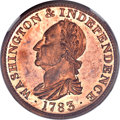 Colonials, 1783 COPPER Washington & Independence Cent, Draped Bust, NoButton, Copper Restrike, Engrailed Edge PR65 Red NGC. Baker-3,W-...