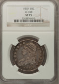 Bust Half Dollars: , 1810 50C VF25 NGC. O-108. NGC Census: (13/429). PCGS Population(22/517). Mintage: 1,276,276. Numismedia Wsl. Price for pr...