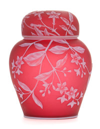 A THOMAS WEBB CAMEO GLASS COVERED JAR Thomas Webb and Sons, Stourbridge, England, circa 1890 Marks impressed: