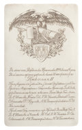 Silver Holloware, British:Holloware, MALCOLM S. FORBES COLLECTION: RUSSIAN SILVER ENGRAVED PLAQUECOMMEMORATING OPENING OF THE ORUDINOFF ARMAMENT FACTORY ON JUNE ...