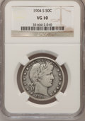 Barber Half Dollars: , 1904-S 50C VG10 NGC. NGC Census: (8/56). PCGS Population (28/177).Mintage: 553,038. Numismedia Wsl. Price for problem free...