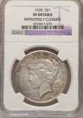Peace Dollars, 1928 $1 --Improperly Cleaned--NGC. Details XF. NGC Census:(23/4810). PCGS Population (70/7073). Mintage: 360,649.Numismedi...