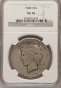 Peace Dollars: , 1928 $1 VG10 NGC. NGC Census: (3/4883). PCGS Population (5/7203).Mintage: 360,649. Numismedia Wsl. Price for problem free ...