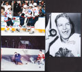 Hockey Collectibles:Photos, Hockey Stars and Legends Signed Oversized Photographs Lot of 3....