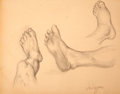 Antiques:Posters & Prints, Dan Viggiano. SIGNED. Original Pencil Study of Feet. [ca. 1970].Mild toning. Approximately 17 x 22.5. Very good....