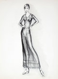 Antiques:Posters & Prints, Dan Viggiano. SIGNED. Original Pencil Study of Fashion Model. 1972. Approximately 24 x 18. Near fine....