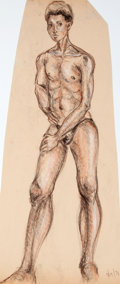 Antiques:Posters & Prints, Dan Viggiano. Original Pencil Study of Male Nude. 1971. Mildtoning. Approximately 24 x 10. Very good....