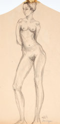 Antiques:Posters & Prints, Dan Viggiano. SIGNED. Original Pencil Study of Female Nude. 1971.Mild toning with a small chip at upper edge. Approximately...