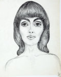 Antiques:Posters & Prints, Dan Viggiano. Original Pencil Study of Female Face. [ca. 1970].Mild toning. Approximately 14.5 x 12. Very good....