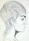 Antiques:Posters & Prints, Dan Viggiano. Original Pencil Study of Female Face in Profile. [ca.1970]. Mild toning. Approximately 15 x 11. Very good...