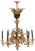 Lighting:Chandeliers, A FRENCH NAPOLEON III GILT AND PATINATED BRONZE FIGURAL NINE-LIGHT CHANDELIER . Unknown maker, probably Paris, France, circa...