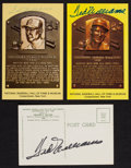 Baseball Collectibles:Others, Ted Williams Signed Hall of Fame Plaque Postcards Lot of 3....