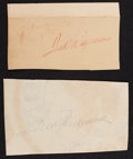 Baseball Collectibles:Others, Ted Williams Signed Cut Signatures Lot of 2....