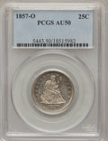 Seated Quarters: , 1857-O 25C AU50 PCGS. PCGS Population (10/40). NGC Census: (5/40).Mintage: 1,180,000. Numismedia Wsl. Price for problem fr...