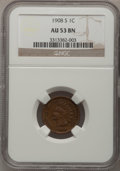 Indian Cents: , 1908-S 1C AU53 NGC. NGC Census: (48/858). PCGS Population (40/394). Mintage: 1,115,000. Numismedia Wsl. Price for problem f...