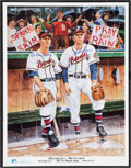 Baseball Collectibles:Others, John Sain and Warren Spahn Multi Signed Lithograph....