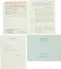 Baseball Collectibles:Others, Major League Baseball Contracts and Documents Signed Lot of 4 -Featuring Notable Executives!...