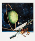 Mainstream Illustration, HOWARD KOSLOW (American, b. 1924). Space Exploration-UranusVoyager II, 1991. Acrylic on board. 14 x 12 in.. Signed lowe...